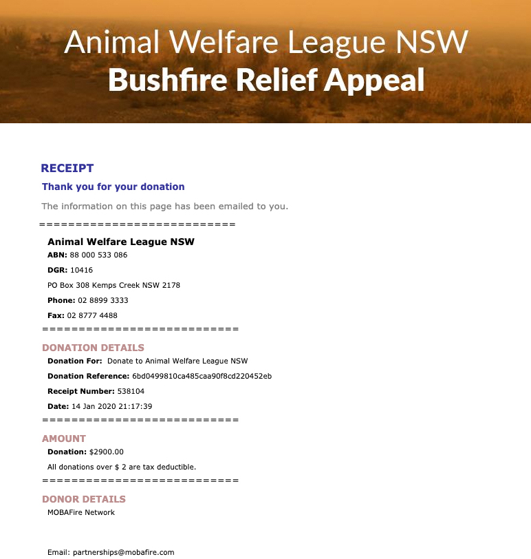Bushfire Relief Donation Complete League Of Legends Lol Forum On Mobafire